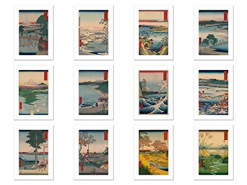 Wish Pub - Handmade Assorted Japanese Ukiyo-e Postcards - Set of 12 Unique Design