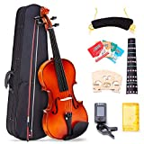 4/4 Full Size Violin, Tenozek Natural Solid Wood Satin Acoustic Starter Kit with Extra Strings, Case, Bow, Rosin, Clip-on Tuner, Shoulder Rest, Bridge and Finger Guide