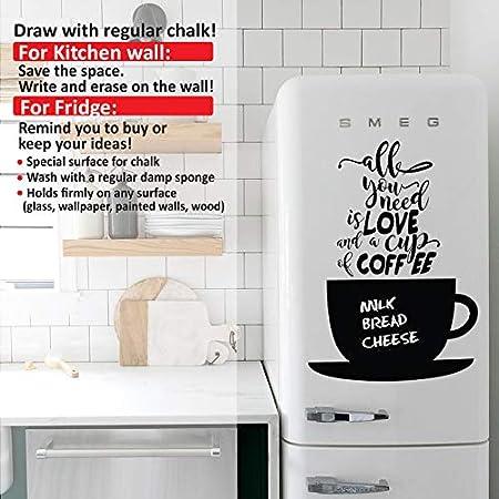 Sticker Blackboard Cup of Coffee Wall Vinyl Black 38x0,1x51 cm Homemania