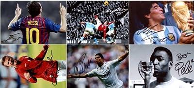 "Six 6""x4"" Photos of Soccer Legends With FACSIMILE Autographs. Messi,Ronaldo,Rooney,Beckham,Pele,Maradona"