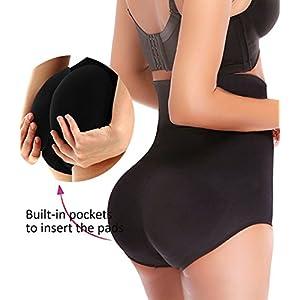 NINGMI Women Butt Lifter Padded Hip Enhancer Hi-Waist Control Panties Shapewear Underwear