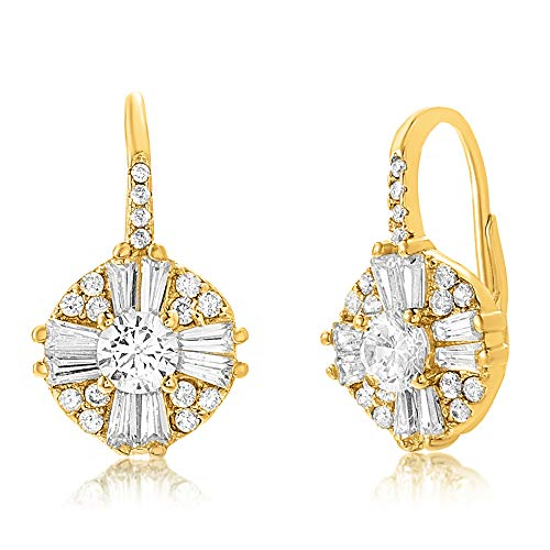 MIA SARINE Cluster Drop Antique Look Cubic Zirconia Leverback Earrings for Women in Rhodium Plated Sterling Silver (Yellow)