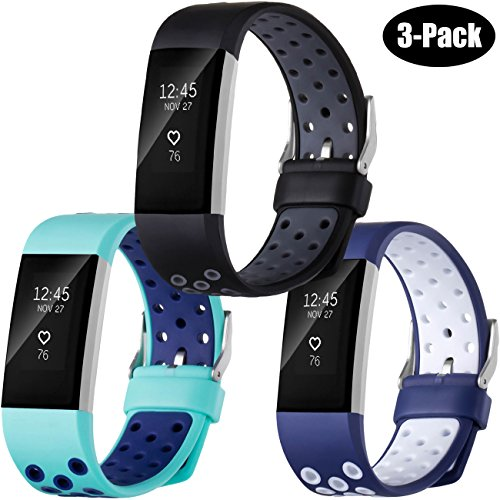 r Fitbit Charge 2, 3-Pack Fitbit Charge2 Wristbands with air hole, Small (1 Row Replacement)