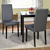 Set of Two Dining Chairs, Square Shape, Upholstery, Faux Leather Chairs, Wood Frame, Contemporary Style, Ideal for Family Gathering and Evening, Kitchen, Home Furniture, BONUS E-book (Gray)