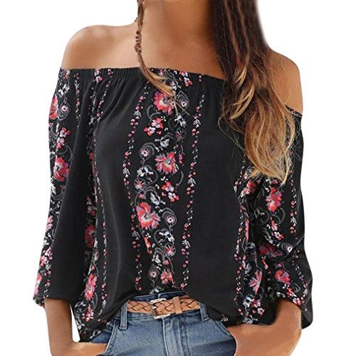 (Gillberry Womens Casual Off The Shoulder Shirt Boho Floral Print Loose Blouses Tops (Black,)
