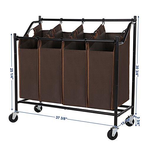 Songmics 4 Bag Rolling Laundry Sorter Cart Heavy Duty
