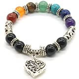 10 MM Beads Yoga Balancing Reiki Healing Bracelet 7 Chakra Antique Silver Colour Hollow heart Bracelet