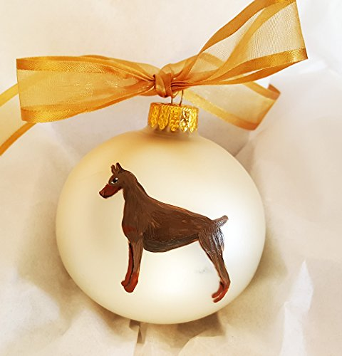 (Doberman Pinscher (Red) Dog Hand Painted Christmas Ornament - Can Be Personalized with Name)
