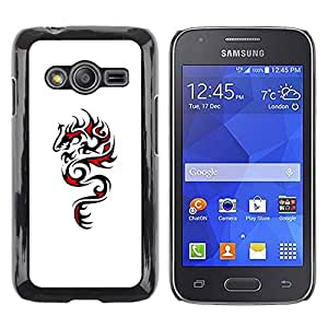 rígido protector delgado Shell Prima Delgada Casa Carcasa Funda Case Bandera Cover Armor para Samsung Galaxy Ace 4 G313 SM-G313F /Dragon Art Black Red Drawing/ STRONG