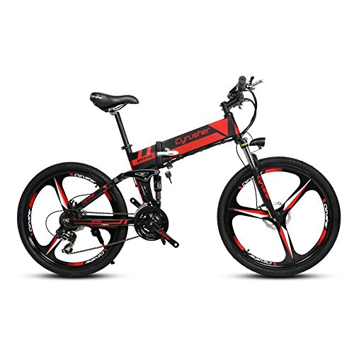 Extrbici Cyrusher XF700 Mans Folding Electric Bike 17 X 26 Inch Mountain Bike Full Suspension 250 W 36V 21 Speeds with Power Off Anti-Slip Mechanical Disc Brake and Smart Bike Computer (black red)