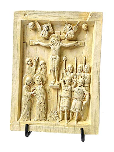 Byzantine Icon Tablet with Christ on Cross Crucifixion Replica 6.25H