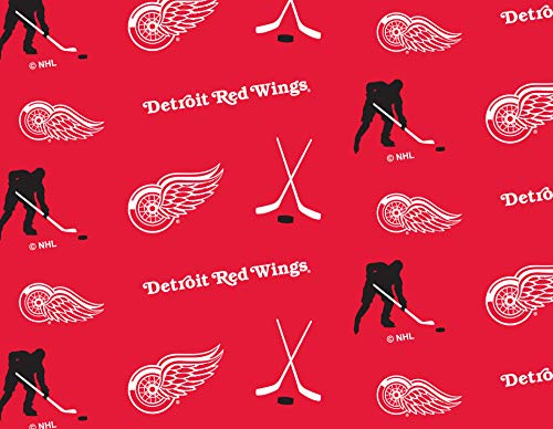 Detroit RED Wings Fleece Blanket Fabric All Over Design-Sold by The Yard