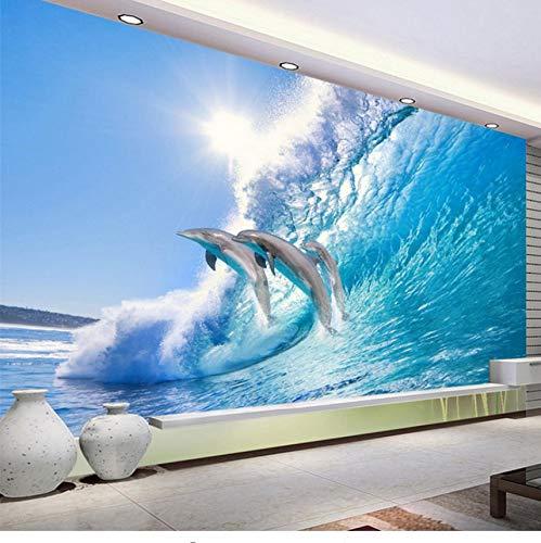 Guyuell Moderno Salto Delfín 3d Estéreo Mural Wallpaper Hd