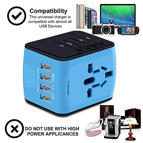 Universal Travel Adapter, International Power Adapter with 4 USB,European Adapter for UK,US,AU,India 150+ Countries,All in One Travel Plug Adapter for iPhone, Android,All USB Devices by HUANUO (Image #4)