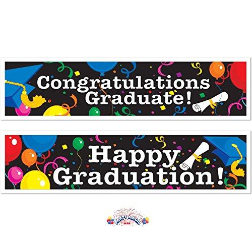 Graduation Banners (Asstd Designs) Party Accessory (1 Count) (2/pkg) Pkg/12