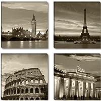 Visario 6604 - Disegno su tela London Paris Rome Berlin 4 x 30 x 30 cm, 4 pezzi
