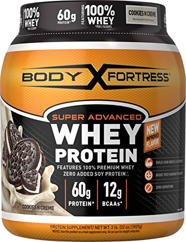 Body Fortress Super Advanced Whey Protein Powder, Cookies N' Cream, 2 lbs (Protein Powder Without Caffeine)