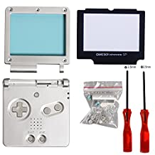 Timorn Full Parts Housing Shell Pack Replacement for Nintendo GBA SP Gameboy Advance SP (Silver Pack)