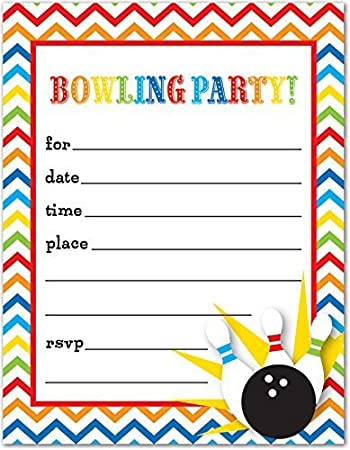 Amazoncom 24 Bowling Fillin Kids Birthday Party Invitations