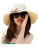 MERSUII Women Large brimmed Large Wide Brim Bow Beach Sun Straw Hat Cap Beige