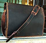 KK's Leather hunter Leather Bags 18'' Inch Retro Leather Bags genuine leather bags Laptop Messenger Bags Vintage Brown Bags full flap bags Briefcase bags Everyday weekend bags for men and women