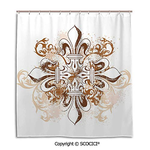 Bath curtain suit bathroom waterproof curtain Shower Curtain,66X72in,Fleur De Lis,Ancient Antique Heraldry Cross Vintage Floral Swirls Traditional Old Fashion,Brown White,Used for bathing privacy