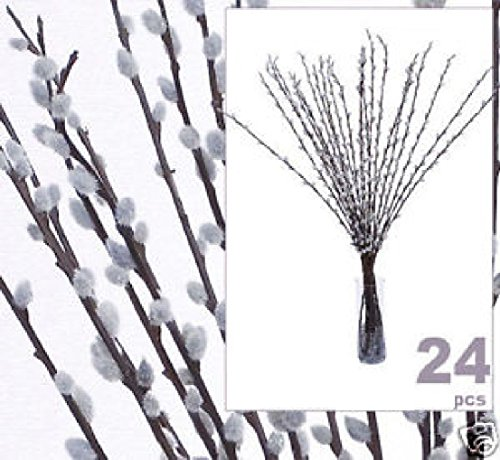 24 pcs 39'' Pussy Willow Artificial Silk Flower LiteGrey by Black Decor Home