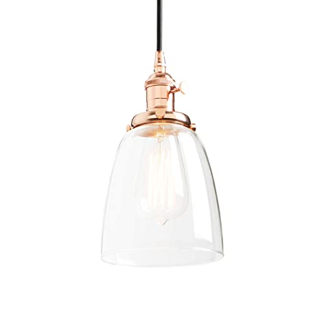 Phansthy Vintage Hanging Light Bell Clear Glass Industrial Pendant ...