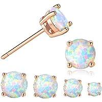 GEMSME 18K Rose Gold Plated Opal Stud Earrings 6MM Round For Women