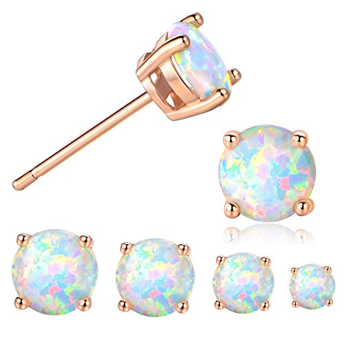 GEMSME 18K Rose Gold Plated 3/4/5/6mm Round Opal Stud Earrings Pack of 4