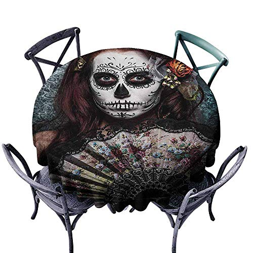 VIVIDX Water Table Cloth,Day of The Dead,Make up Artist Girl with Dead Skull Scary Mask Roses Artwork Print,Modern Minimalist,43 INCH,Cadet Blue Maroon -