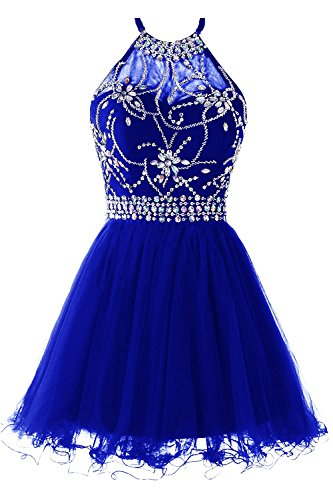(Halter Short Homecoming Dress Tulle Cocktail Prom Gowns Beading Evening Party Dress US 16W RoyalBlue)