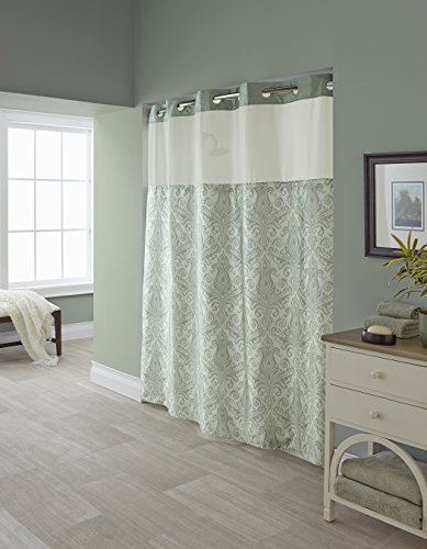 Hookless RBH85MY985 Vintage Medallion Reseda Shower Curtain with Snap-In PEVA Liner Medallion Snap