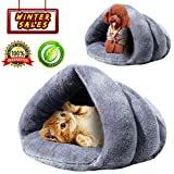 KAIYANG Cat Bed Warm Winter Cat Beds for Indoor Outdoor Cats - Self-Warming Cat Bed - Dog Beds for Small Dogs - Soft Plush Pet Triangle Bed Cave (Grey)