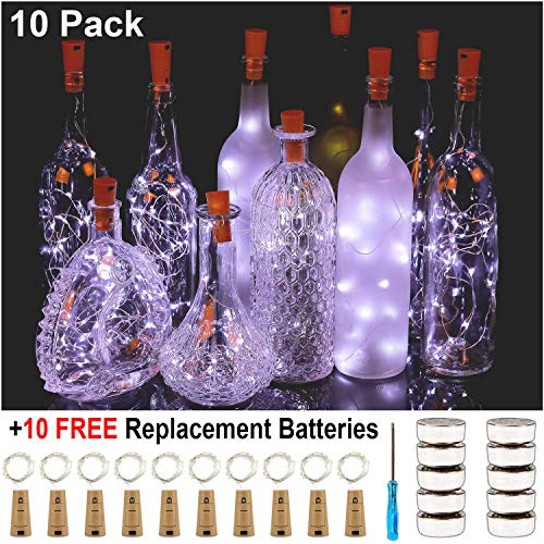 KZOBYD Bottle Lights with Cork 10 Pack 30 Pre-Installed+10 Replacement Batteries Included Mini Wine Bottles Lights for DIY Party Christmas Halloween Centerpieces Decor (White)