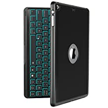 iPad Air Keyboard Case, iEGrow Wireless Bluetooth Clamshell Keyboard Case with 7 Colors LED Backlit for iPad Air 1(Black, Not fit iPad Air 2)
