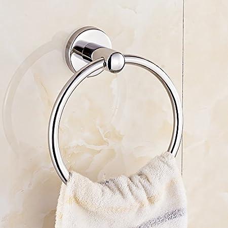 DEjasnyfall Silber Edelstahl runden Stil an der Wand montierten Handtuchring bequem Handtuchhalter Kleiderb/ügel h/ängen Bad Lagerung Inhaber