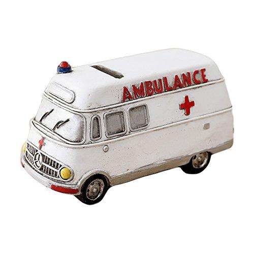 WAIT FLY Vintage White Ambulance Car Shape Resin Home Desk Decorations for Bedroom Living Room Piggy Bank Gifts for Kids by WAIT FLY