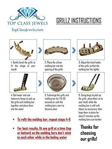 24K Plated Gold Grillz for Mouth Top Bottom Hip Hop Teeth Grills For Teeth Mouth + 2 Extra Molding Bars, Storage Case + Microfiber Cloth by Top Class Jewels (Image #3)