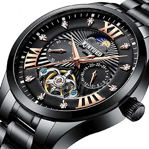 Men Top Luxury Brand Automatic Machinery Watches Fashion Casual Stainless Steel Men's Tourbillon Moon Phase Sport Watch
