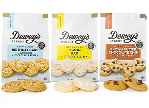 Dewey's Bakery Soft Baked Bliss Cookie Variety Pack | Baked in Small Batches | Real, Simple Ingredients | Real, Simple Ingredients | Southern Bakery Recipes | Pack of 3 6-oz (Soft Chewy Cookie Recipes)
