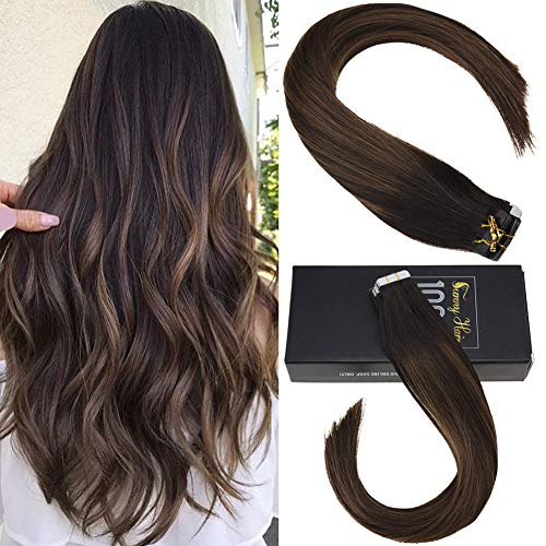 Sunny 14inch Seamless Tape in Extensions Human Hair Balayage Brown with Highlights 20pcs 50g Two Tone Silky Straight Tape Hair Extensions Human Hair