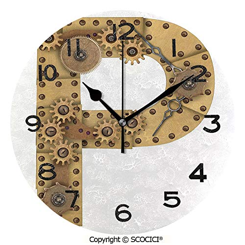 SCOCICI 10 inch Round Clock Industrialization and Language Theme Capital P in Aged Design Copper Device Print Decorative Unique Wall Clock-for Living Room, Bedroom or Kitchen Use ()