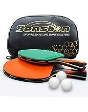 Senston Juego de paletas Table Tennis Bats 2 con 3 Pelotas y Estuche para Raquetas, Escuela, el hogar, el Club Deportivo, la Oficina (agitar la empuñadura)