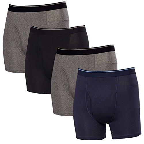 Kirkland Signature 4 Stretch Cotton Boxer Briefs Comfort Fit, Blue/Gray, Medium