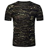 Longay Men's Camouflage Shirt Pollover Plus Size Blouse Slim Fit Short Sleeve Top (L, Army Green)