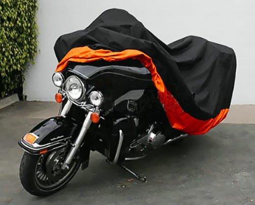 LeaningTech All Season Black&Orange Waterproof Sun Motorcycle Cover, Universally Fits to Harley Davison, Honda, Suzuki, Kawasaki, Yamaha,Street Glide Touring, Lockholes (XXX Large) by LEANINGTECH (Image #2)