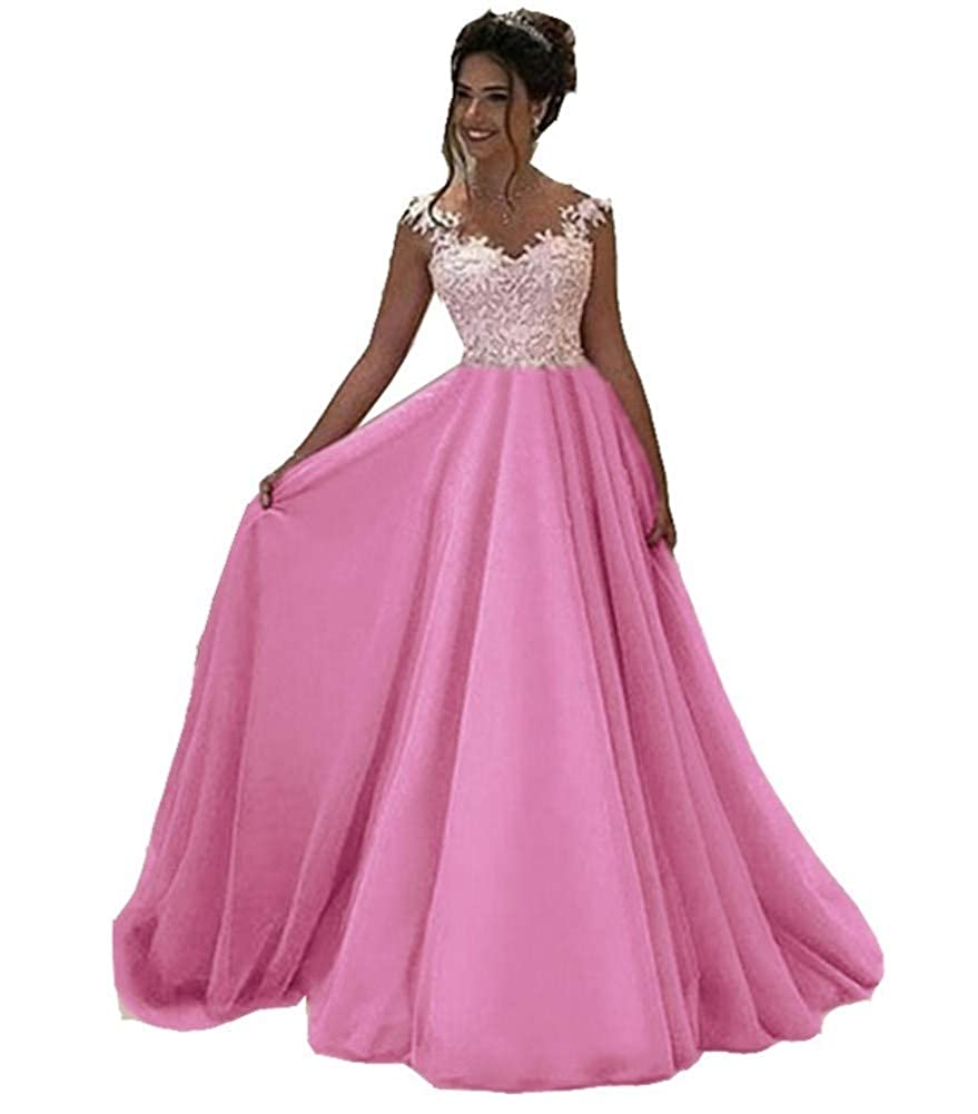 pink Red Honeydress Women's VNeck Long Sleeveless Lace Ball Gown Satin Gown for Formal Occasion