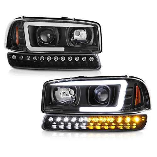 VIPMOTOZ Black OLED Neon tube Projector Headlight + LED Strip Front Bumper Parking Turn Signal Lamp Housing Assembly Replacement For 1999-2006 GMC Sierra 1500 2500 3500, Yukon & Yukon XL ()