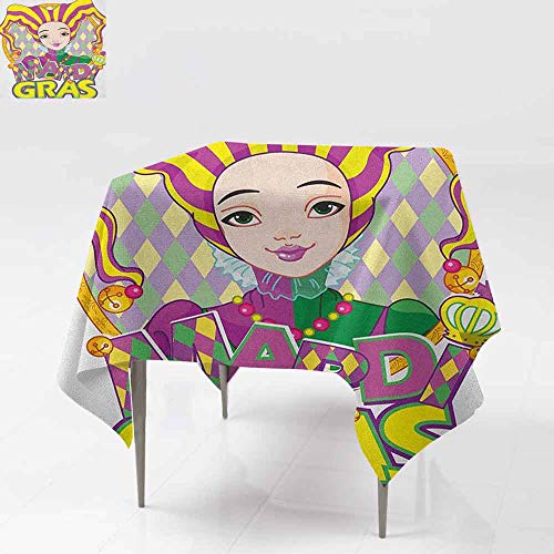 AndyTours Washable Square Tablecloth,Mardi Gras,Carnival Girl in Harlequin Costume and Hat Cartoon Fat Tuesday Theme,Party Decorations Table Cover Cloth,54x54 Inch Yellow Purple Green]()